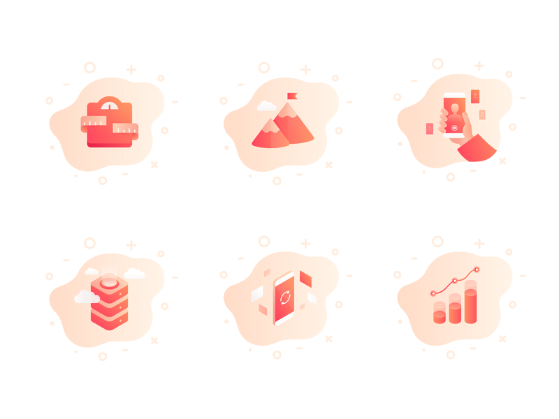 Icon set 3d 2d isometric illustration illustrator phone onboarding mobile logo gradient fitness fitamin icons set icon