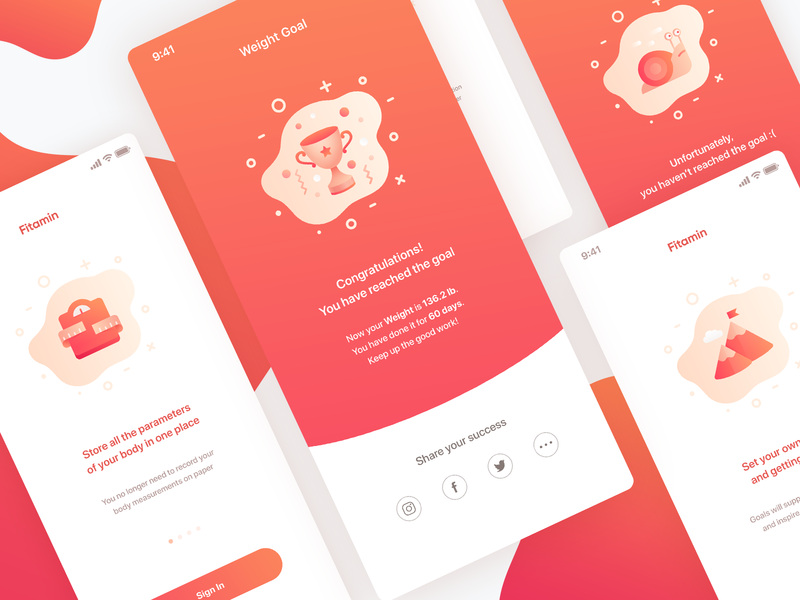Fitamin Modals health body weight gradient red win cup illustration icons peach ios mobile app onboarding modal fitamin