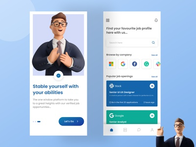 Job Portal App Design branding uidesign design app design