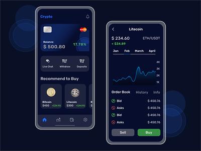 Crypto currency Mobile App Design branding ui logo uidesign illustration uiux app design