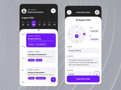 Reminder Mobile App Design uidesign illustration uiux design website design app design