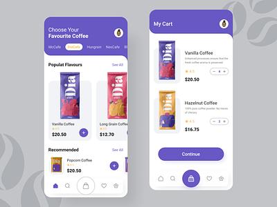 Coffee Odering App Design branding uidesign illustration website design app design