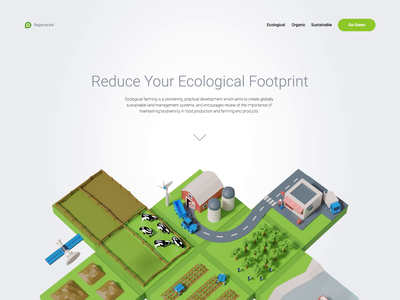 Sustainable Farming 3d Scene green eco sustainable organic agriculture ecology landing illustration isometric blender 3d