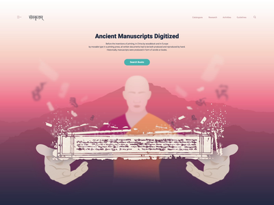 Ancient Texts Digitized Landing tibet ui browsing scroll particles animation illustration vector landing