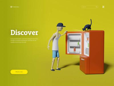 Endless Journey 3D Animation illustration render eevee cat quarantine life refrigerator discover wfh character ui blender landing animation 3d