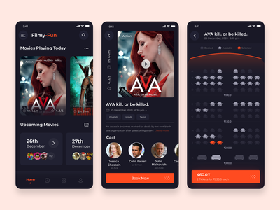 Movie Ticket Booking App mobile movies bookings movie booking booking app mobile app movie ticket app cinema ticket movie ticket movie movie app user experience illustration app design ui design ui-ux mobile application mobile app development mobile application design