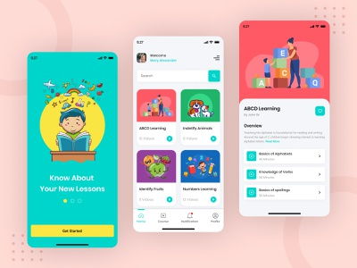 Kids Learning App ui-ux app design design mobile application design kid illustration mobile app development user experience elearning app kid app kids illustration learning platform learning app kids learning kids app kids