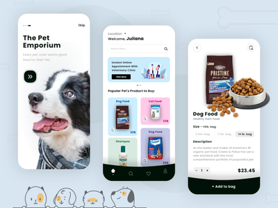 Pet Food App app design app ui mobile app development mobile application design design ui-ux pet care pets pet dog food pet shop petshop pet food pet app