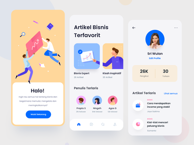 Entrepreneur Articles App icons character articles product design app design entrepreneur business illustration ui color mobile