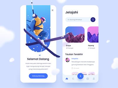 Ski Location Finder App ux ui extream mountain ski sport procreate texture brush color illustration design app mobile
