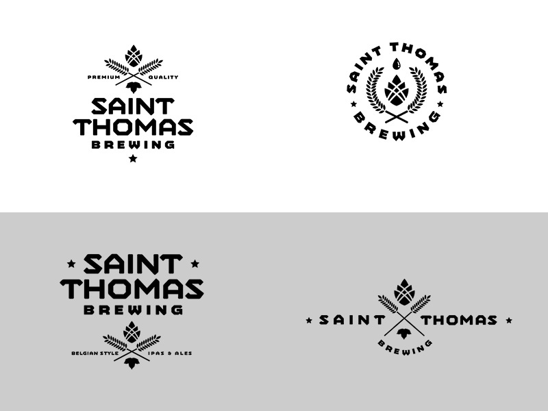 """St. Thomas Brewing Co.""""Modern Hipster"""" Concept logo craft beer"""