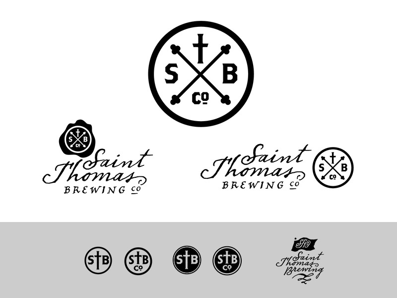 """St. Thomas Brewing Co.""""Hipster Pirate"""" Concept logo craft beer"""