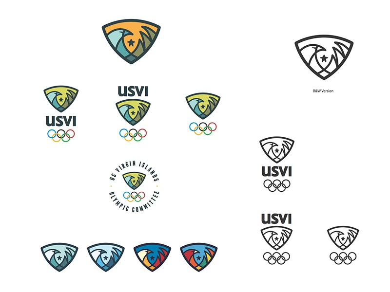 Rejected USVI Olympic Logo concept olympic logo eagle wave