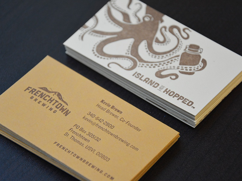 Frenchtown Brewing Business Cards french paper letterpress growler octopus beer frenchtown brewing virgin islands business card