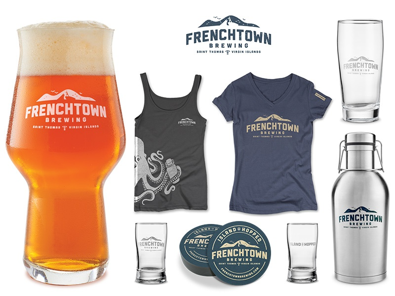 Frenchtown Brewing Apparel and Merchandise tee-shirt logo glass growler coaster screenprinting octopus craft beer