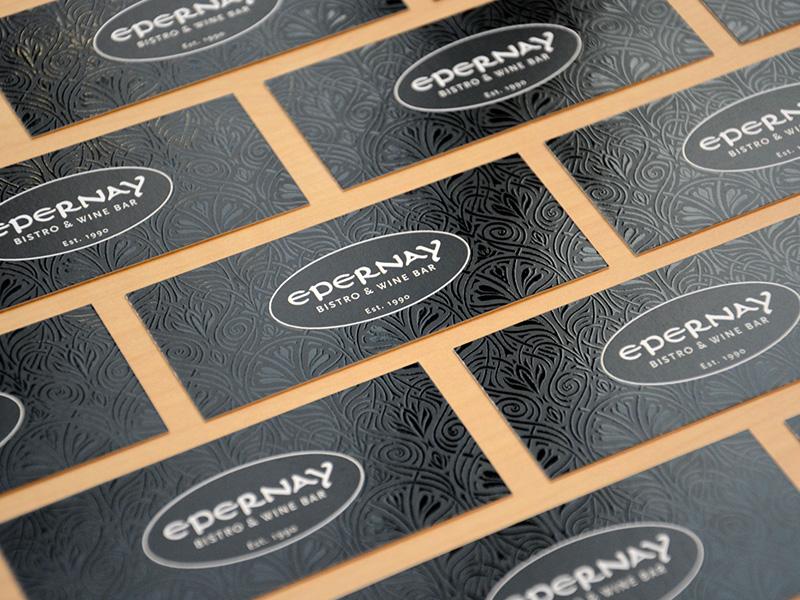 Epernay Bistro & Wine Bar Business Card wine bar bistro virgin islands business card