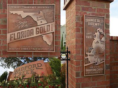 Bradford Creek Monument Sign and Wall Art art florida design labels citrus