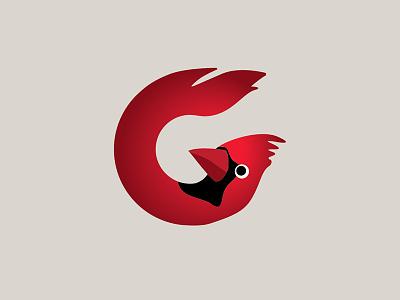 Cardinal Logo letter bird cardinal logo