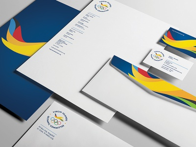 US VI Olympic Committee Print Collateral business card print stationery flight icon bird olympics logo