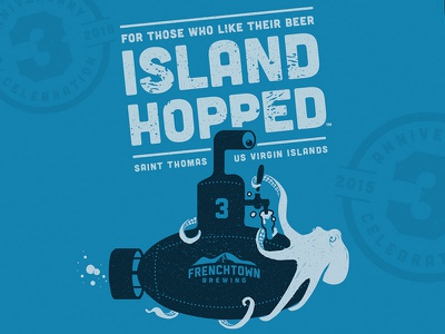 Thirsty Octopus beer submarine octopus design usvi st. thomas frenchtown craft beer illustration