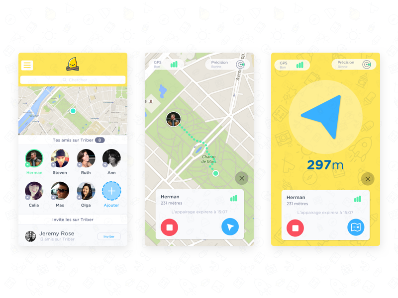 Compass mobile app interface by Mathieu Renaud | Dribbble