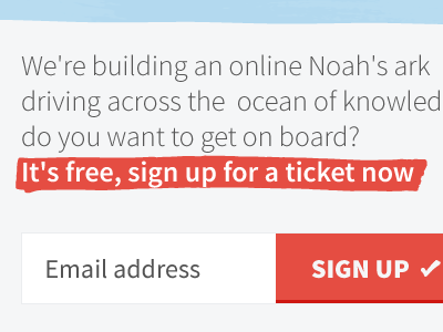 Call to Action signup sign up input red marker free email button