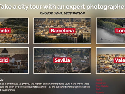 Photo Tours Website cities list homepage home typography photos blocks