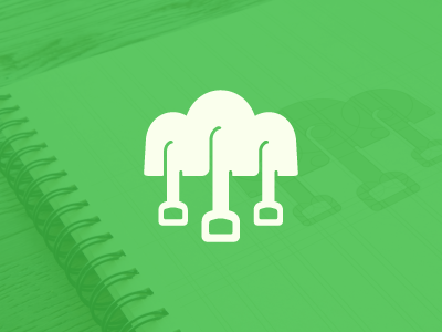 WIP Openfarm logo concept farming cloud shovel tools green sketch logo brand