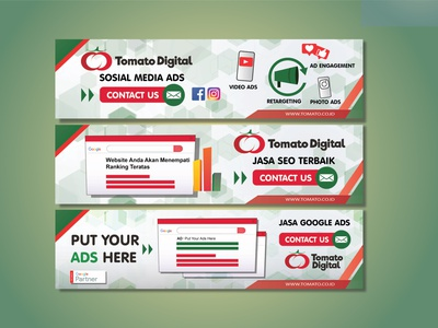 Banner Ads Promotion For Tomato Digital illustration banner ad design google ads vector advertising banner ad website design branding graphic design
