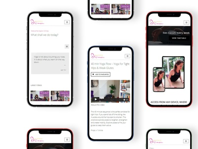 Yoga with Becs Online Membership website graphic design ux ui design branding
