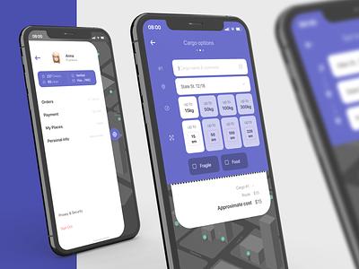 Nunc. Smart delivery. simple flatdesign form map dark theme dark ui dark ios13 ios app design ios app ios delivery service delivery app delivery flat ux ui design app
