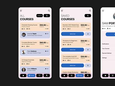 E-Learning App Design courses elearning courses elearning design ux ui app