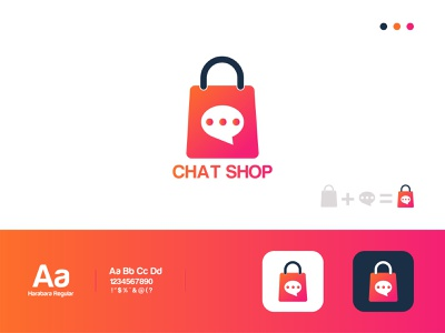 Chat Shop Logo-Chat Icon brand identity logotype logo designer amazon app icon minimal logo mark logo grid modern logo ecommerce shopify store shopping app shopping bag shopping shop chat icon chat shop logo design logo