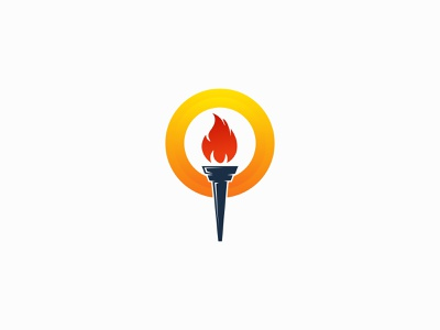 Fire Torch Logo illustration design logo mark icon trendy logo abstract mark colorful vector symbol identity negative space flame flaming ignite fire torch light logotype modern logo brand identity branding logo design logo