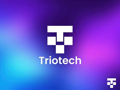 Triotech - Letter T Logo Design - Tech Logo letter logo cryptocurrency symbol modern logo app logo software technology tech logo identity geometric logo startup creative flat minimal logo monogram t letter logo t logo brand identity branding logo design logo