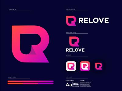 Relove Logo - Modern R Letter Logo Design creative abstract logo app icon logo illustration ecommerce online shop corporate letter logo modern r letter logo love logo trendy logo r logo modern logo design colorful gradient logo brand identity branding logo design logo