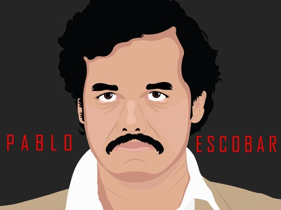 Pablo  Escobar vector illustration portrait illustration minimal illustration design