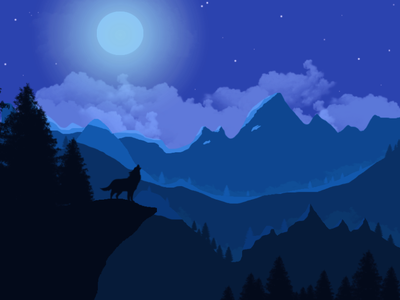 Howling at the moon flat illustration design