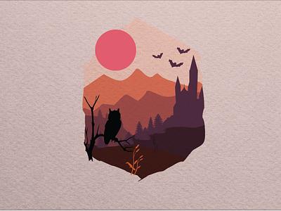 Spooky Sunset landscape castle sunset owl halloween fall illustration vector