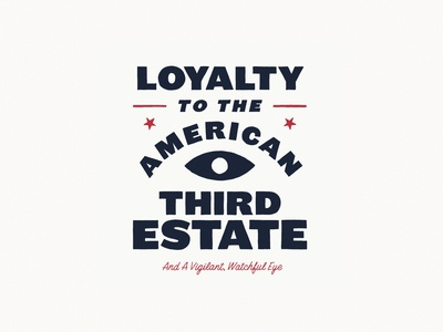 American Third Estate block letters cursive stars eye design typography illustration