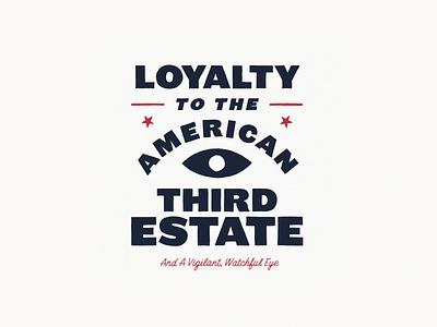 American Third Estate block letters cursive stars eye design typography illustration