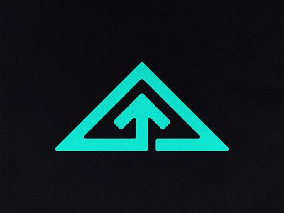 Apeak Icon cycle arrow up invest volcano mountain peak triangle design branding logo