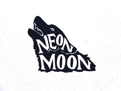 Neon Moon moon neon music venue howl ugly wolf vector branding logo design illustration