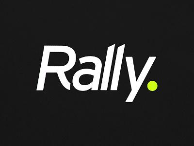 Rally. product equipment sport ball rally gear tennis sports typography design logo branding
