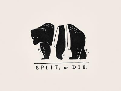 Split, Or Die black and white nostalgic illustration