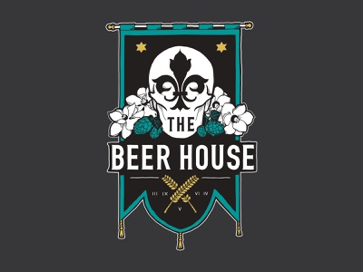 The Beer House Identity brewery flower magnolia barley hops fleur de lis skull banner design typography branding logo illustration
