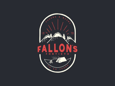 Fallon's 40th campfire beers cheers mountains tent camping apparel design vector poster typography logo illustration
