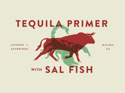 Tequila Primer animal overprint tequila scorpion bull editorial print design vector illustration
