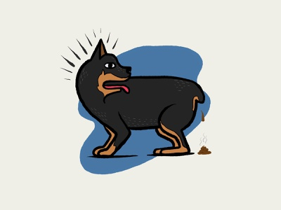 Swayze Scared Shitless puppy drawing doggy poop dog design illustration
