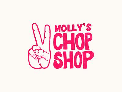 Molly's Chop Shop handlettering apparel shop chop hand peace illustration branding branding design logo logotype